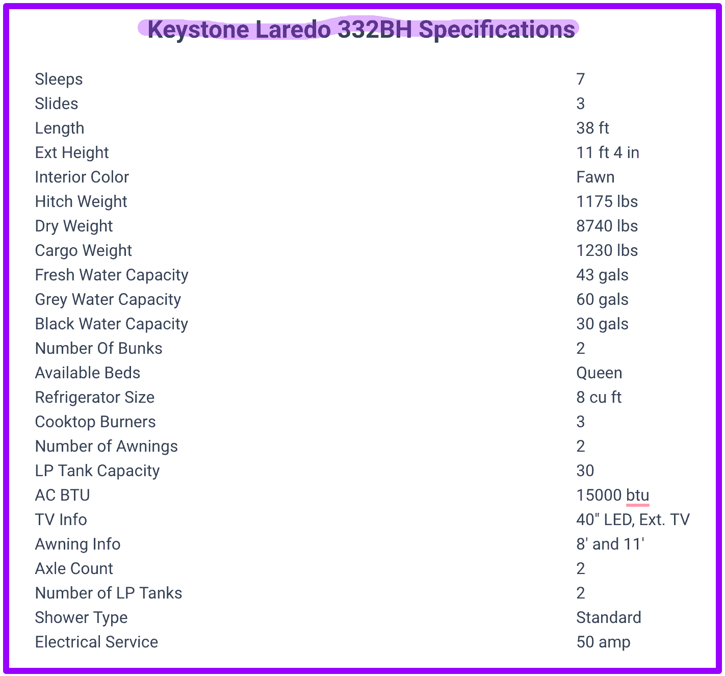 Keystone Laredo 332BH travel trailer specifications