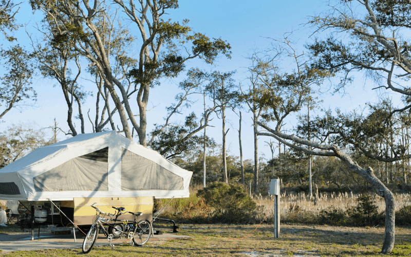 using rv cover to store a pop up camper